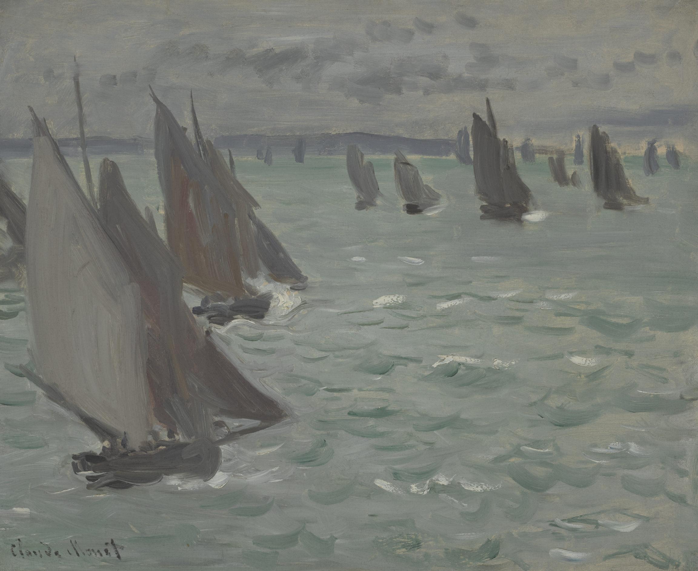 Claude Monet, Voiliers en mer (Sailing Boats at Sea), 1868