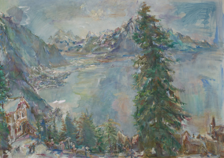 Oskar Kokoschka , Glion, vue sur le lac Léman, 1956