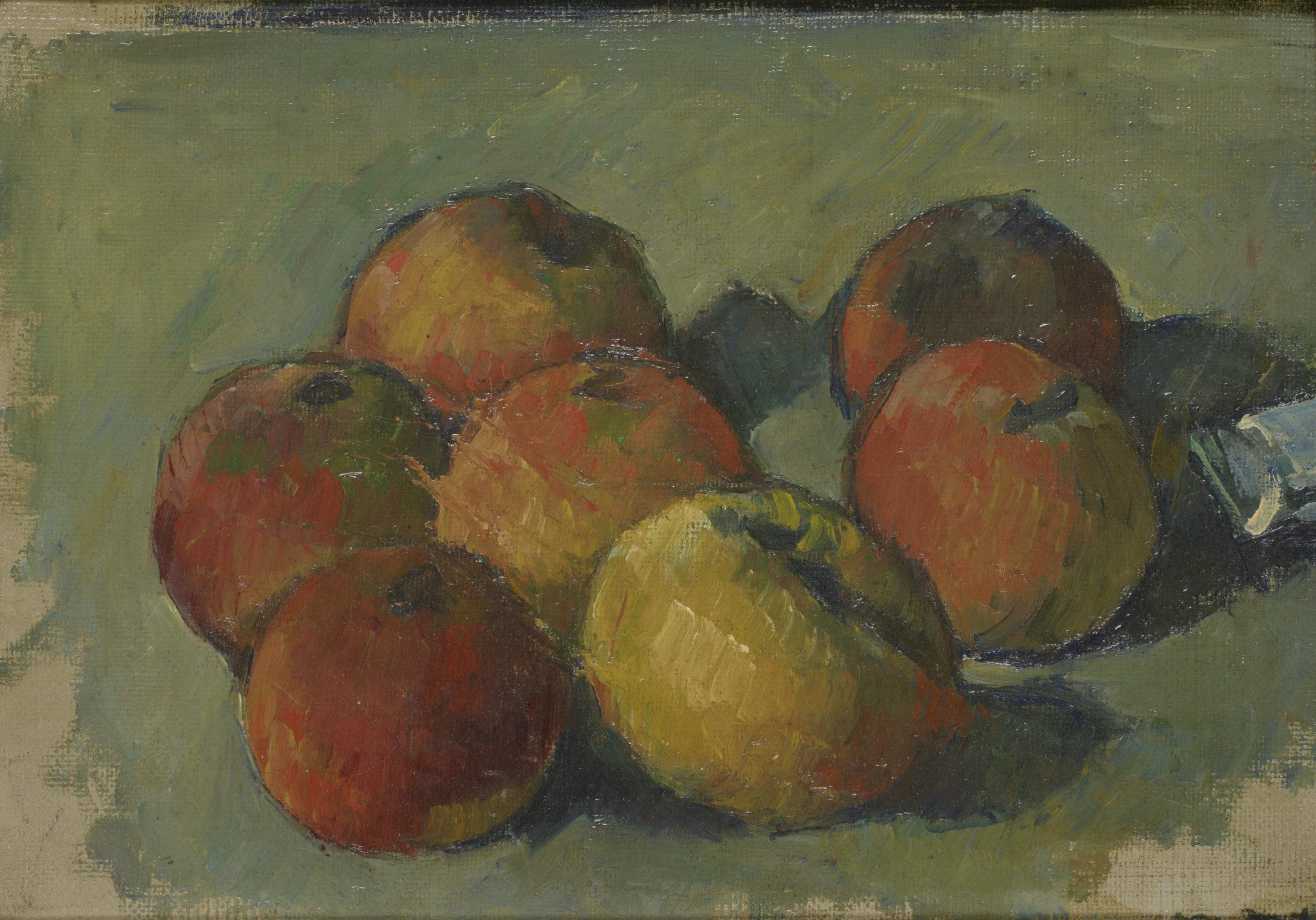 Paul Cézanne, Nature morte aux sept pommes et tube de couleur, 1878 - 1879