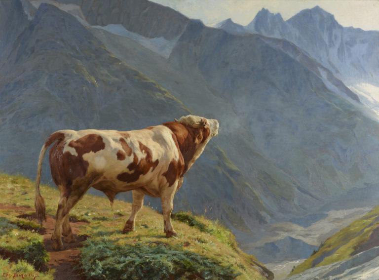 Eugène Burnand, Taureau dans les Alpes, 1884