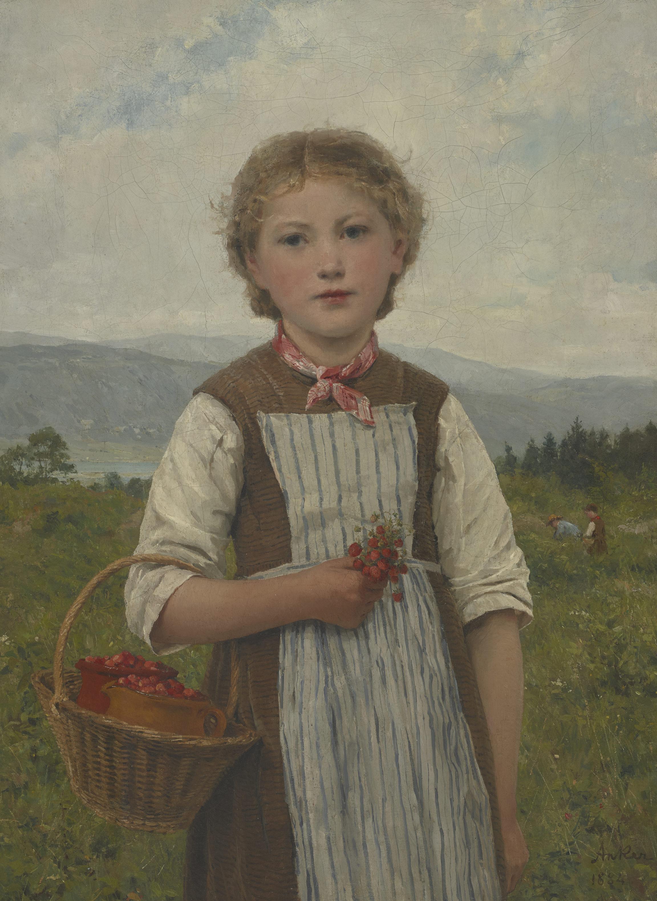 Albert Anker, La Mariette aux fraises (Mariette with Strawberries), 1884