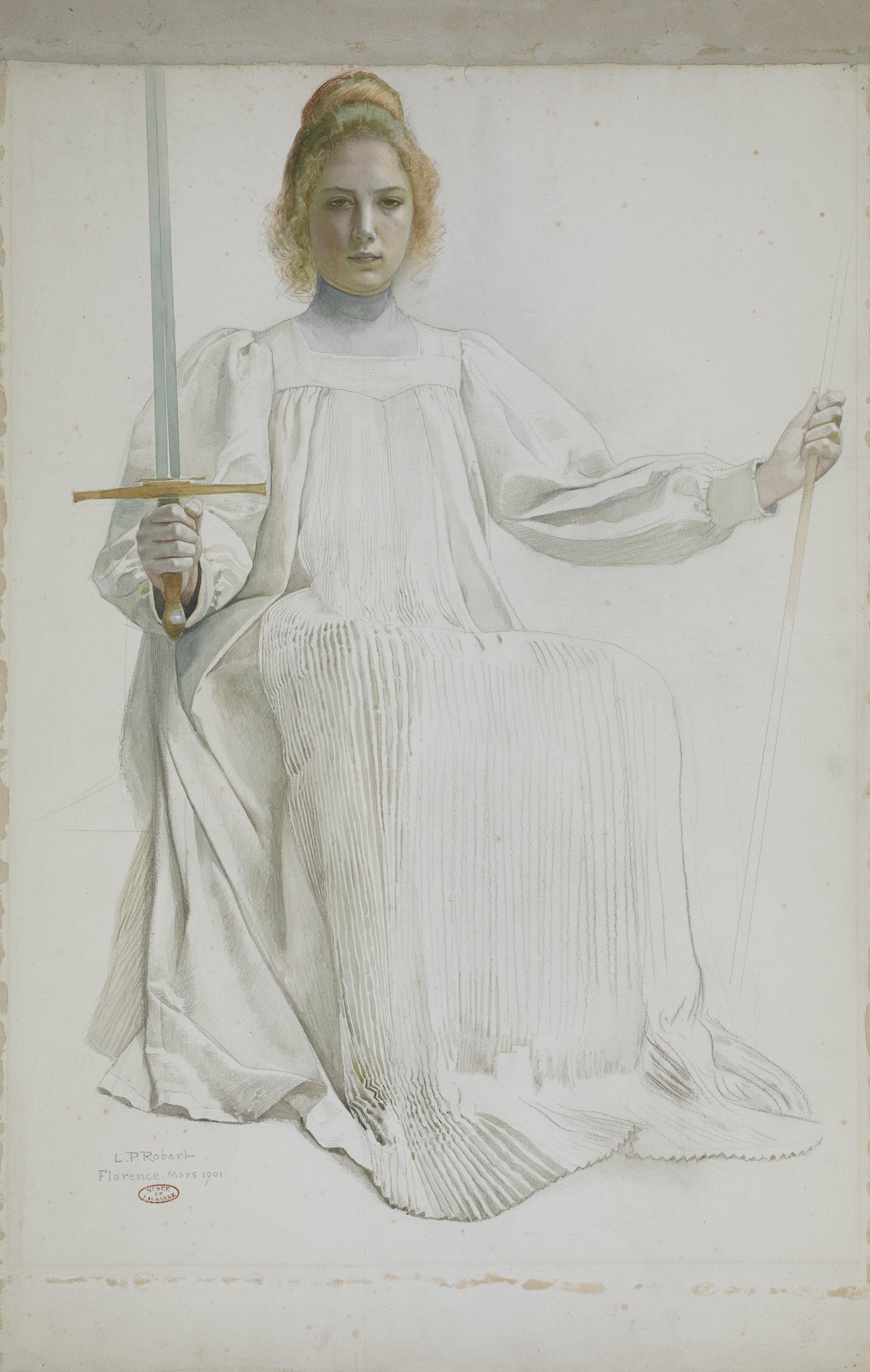 Léo-Paul Robert , Étude pour La Justice élève les nations, 1901