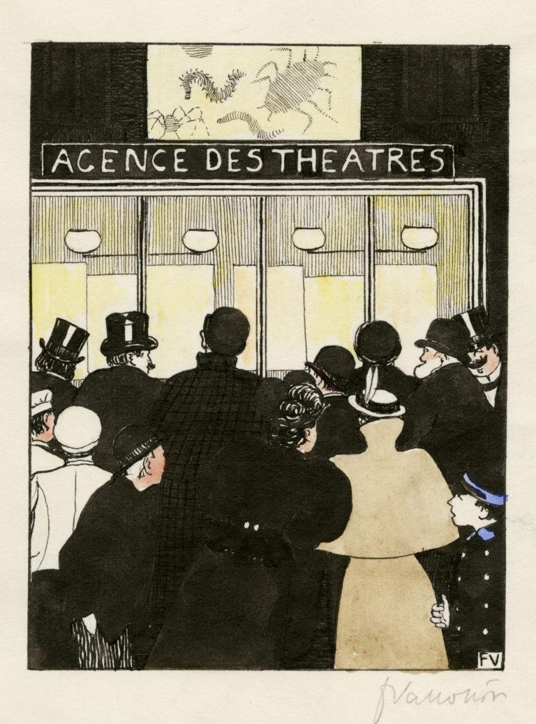Félix Vallotton, Les Affiches lumineuses.<br>Dessin pour « Les Rassemblements », 1895/1902-1903