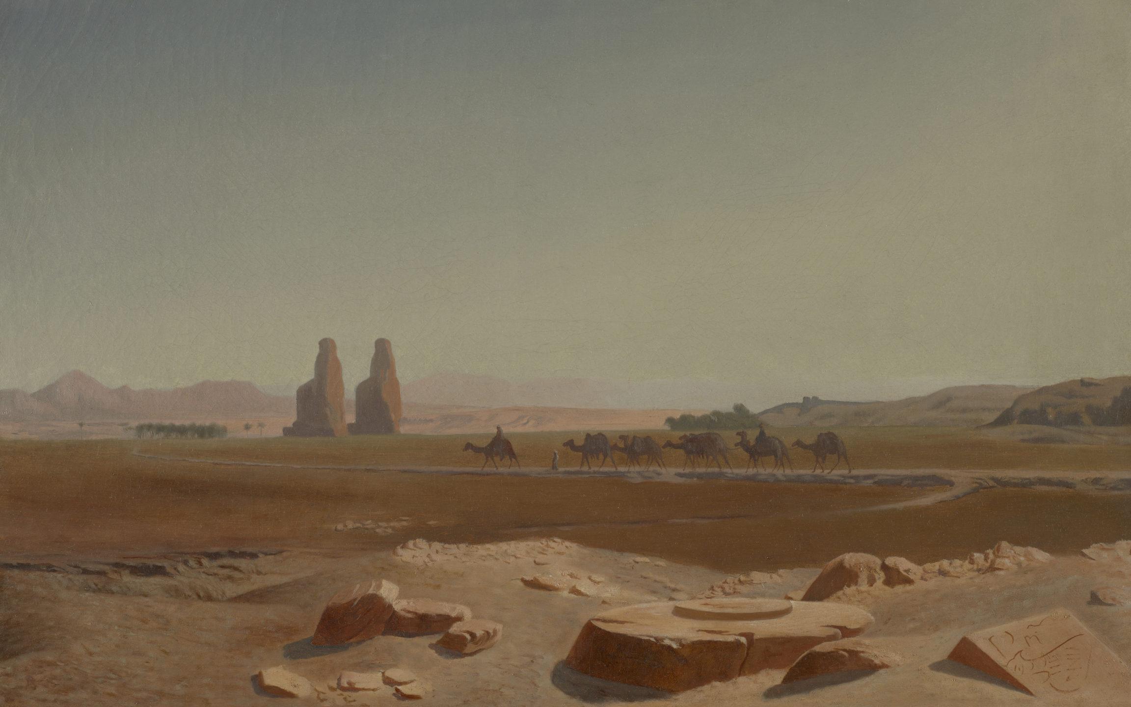 Jean-Léon Gérôme, Caravane passant près des colosses de Memnon. Thèbes, 1856
