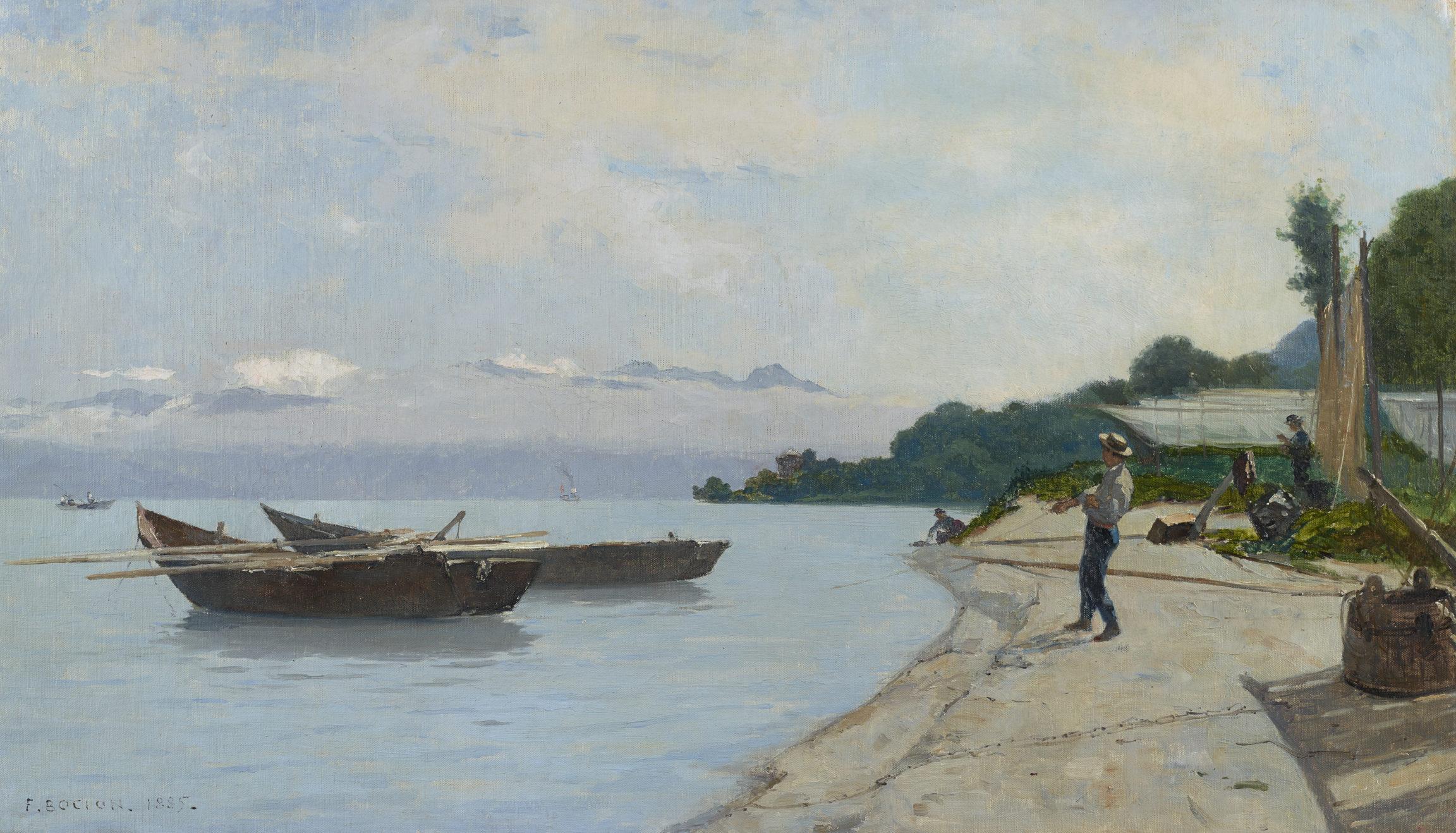 François Bocion, Lac et pêcheurs, 1885