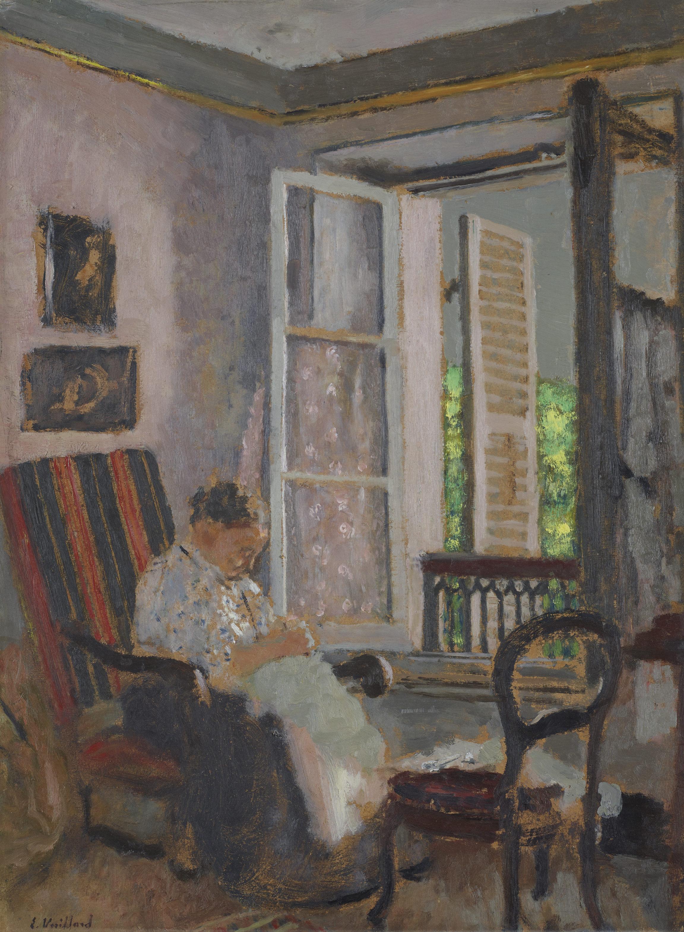 Édouard Vuillard, Madame Vuillard cousant, rue Truffaut, vers 1900