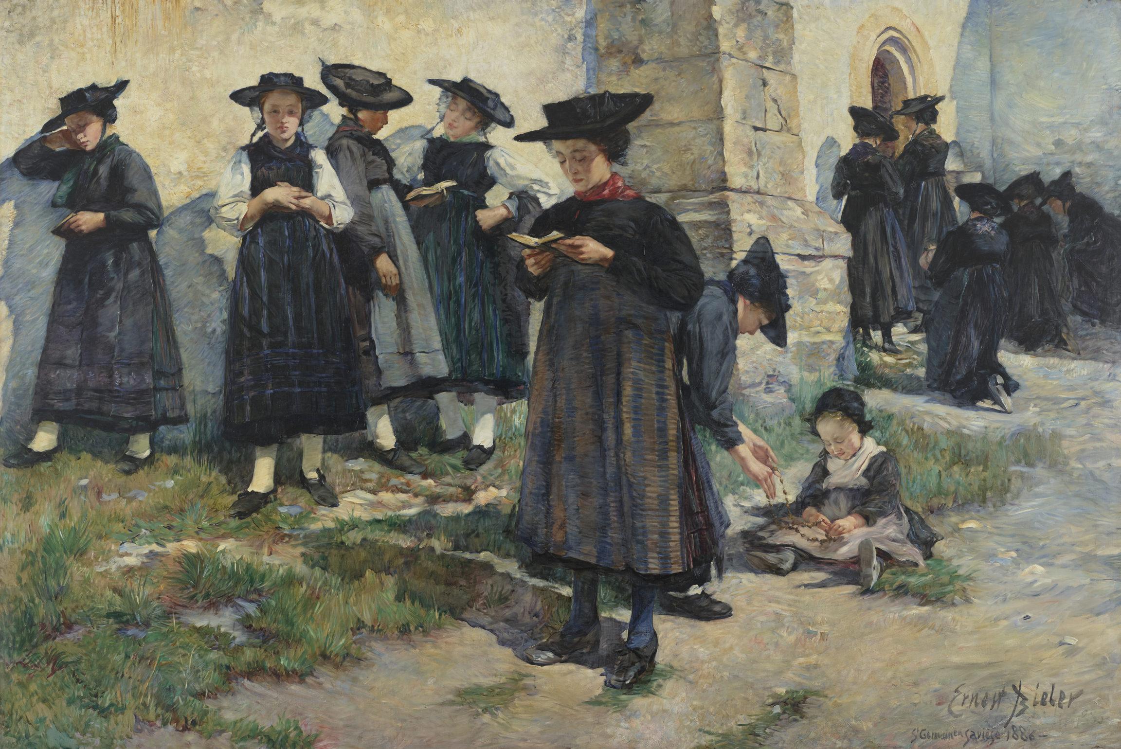 Ernest Biéler, Devant l'église de Saint-Germain à Savièse, 1886