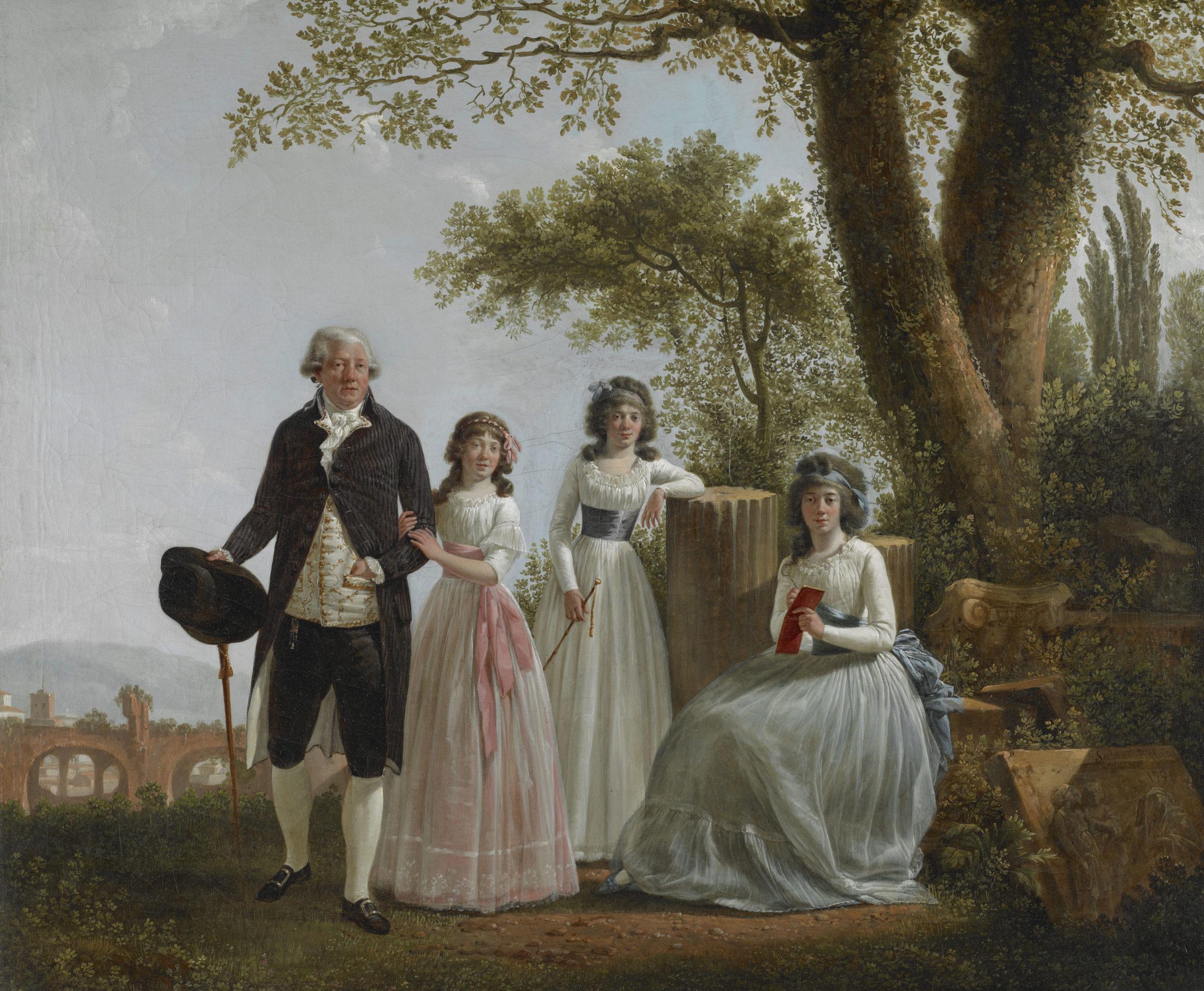 Jacques Sablet, Portrait de famille avec la Basilique de Maxence, 1791