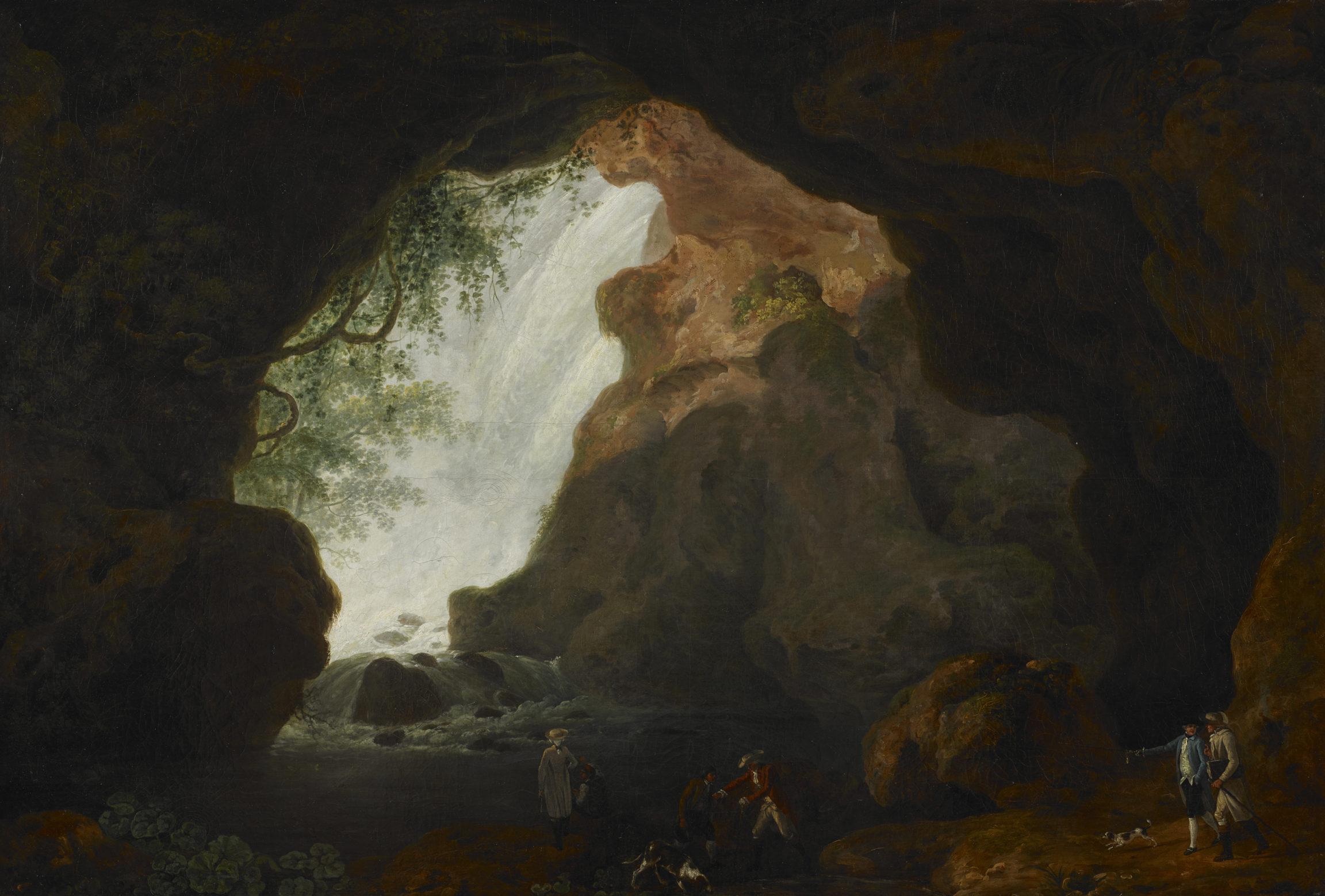 Louis Ducros, Groupe de touristes visitant la grotte de Neptune à Tivoli, vers 1782