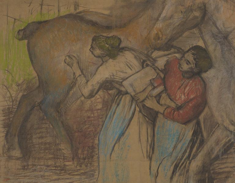 Edgar Degas, Blanchisseuses et chevaux, vers 1904