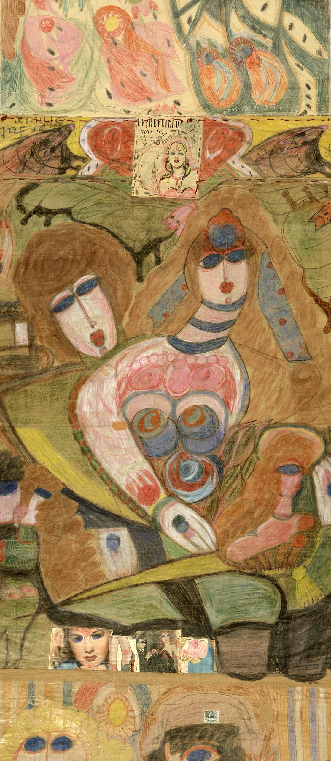 Aloïse (Aloïse Corbaz, dite) , Sphinx Fath – Marie Stuart. Feuille du rouleau double face Le Réveillon avec toi, 1950