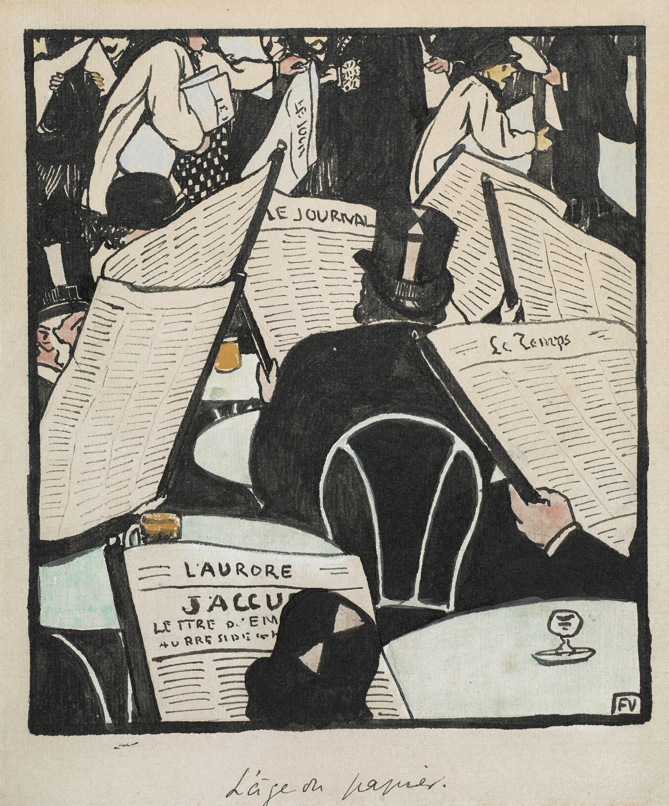Félix Vallotton, L'âge du papier. Dessin pour Le Cri de Paris (The Age of Paper. Drawing for Le Cri de Paris), 1898