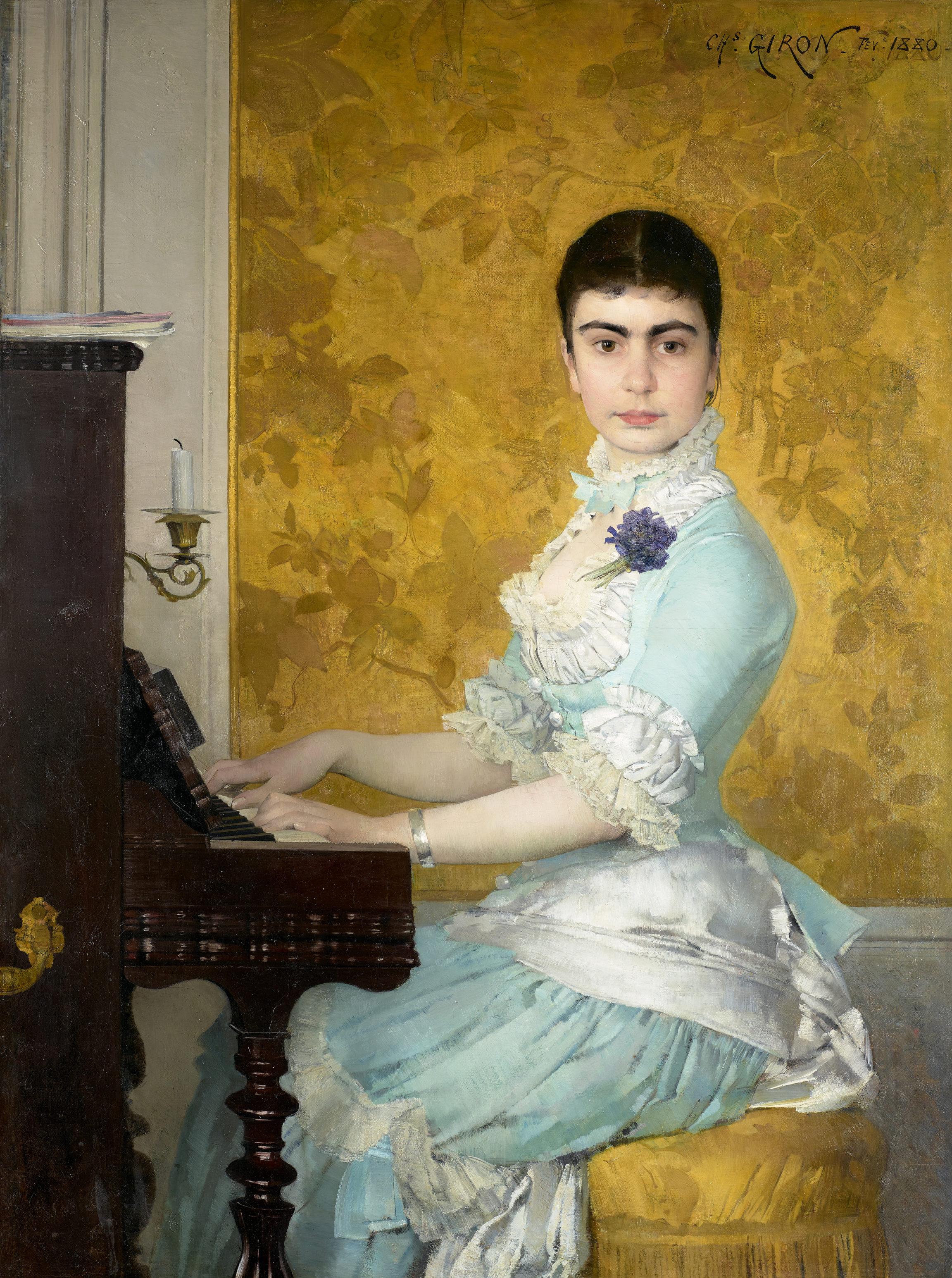 Charles Giron , Jeune femme au piano ou Portrait de Mlle Maguie D., 1880