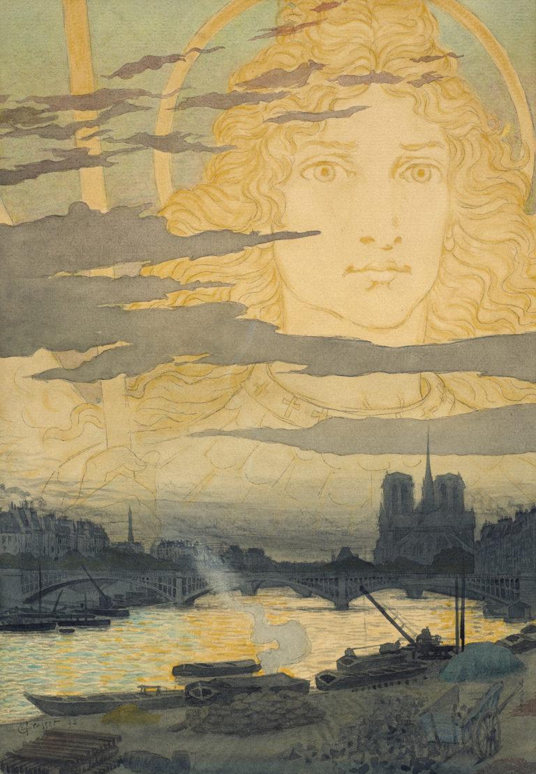 Eugène Grasset, Apparition d'un visage nimbé dans le ciel au-dessus de Paris, 1898