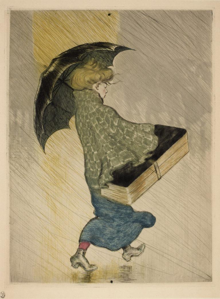 Théophile-Alexandre Steinlen, Trottin sous la pluie, 1898