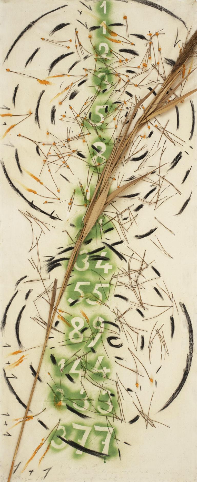 Mario Merz , 8 che riporta 8 - La natura interloquisce sempre e solo con se stessa ? Paesaggio con vento - Fibonacci, 1978
