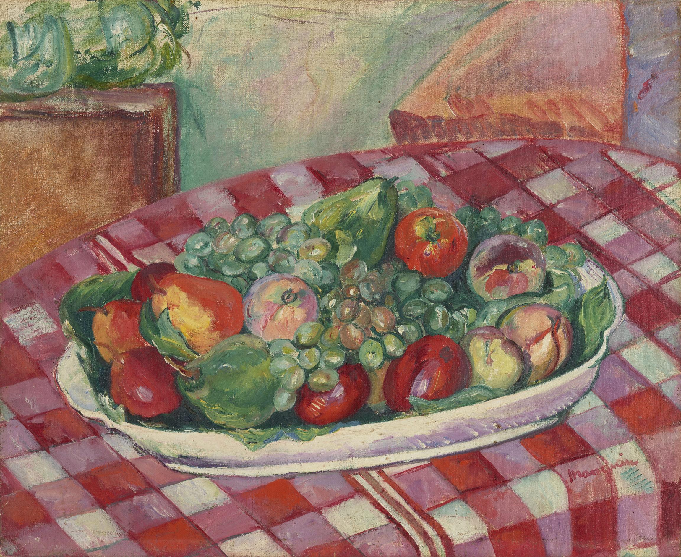 Henri Manguin , Nature morte au plat de fruits, 1917